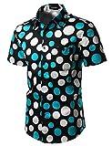 JOGAL Men's Polka Dot Print Casual Button Down Shirt A324 Black US L(Label XL)