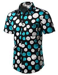 JOGAL Men's Polka Dot Print Casual Button Down Short Sleeve Shirt