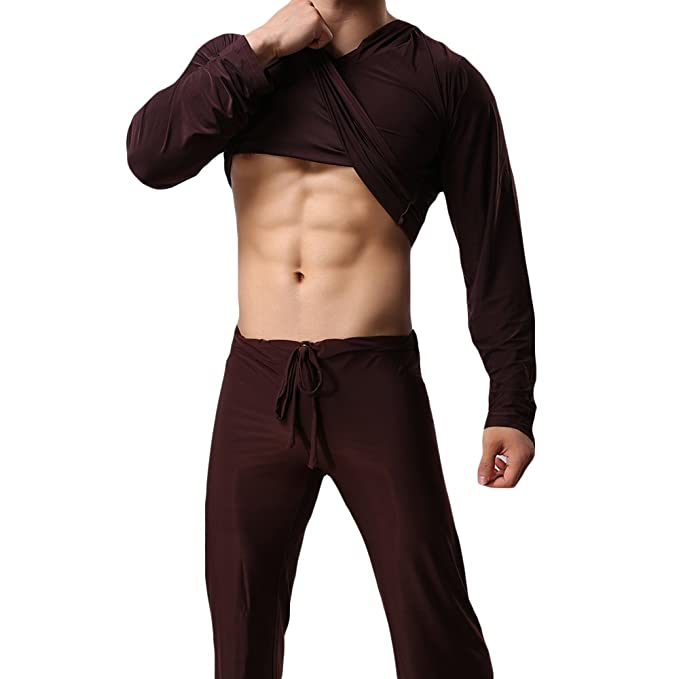 WEEN CHARM Men Ice Silk Yoga Loungewear Set Sleepwear Long Sleeve Hooded Top with Pajamas Pants at Amazon Mens Clothing store: