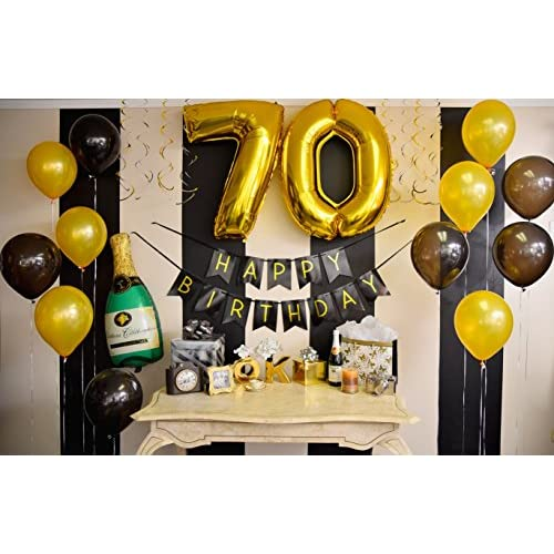 70th Birthday Party Pack Black Gold Happy Bunting Poms And Swirls