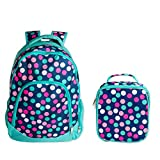 Reinforced Water Resistant School Backpack and Insulated Lunch Bag Set - Teal Navy Party Polka Dot