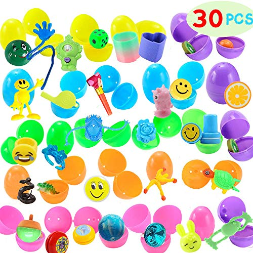 30 Pieces Easter Eggs Filled Mini Toys for Kids Easter Hunt, Easter Theme Party Favors, Party Game Prizes, Goodie Bag Fillers, Basket Stuffers Fillers, Classroom Prize ()