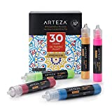 Arteza 3D Fabric Paint, Set of 30, Metallic & Glitter Colors, 1oz Tubes, Glow-in-The-Dark & Vibrant Shades, Textile Paint for Clothing, Accessories, Ceramic & Glass (Tamaño: 30 Colors)