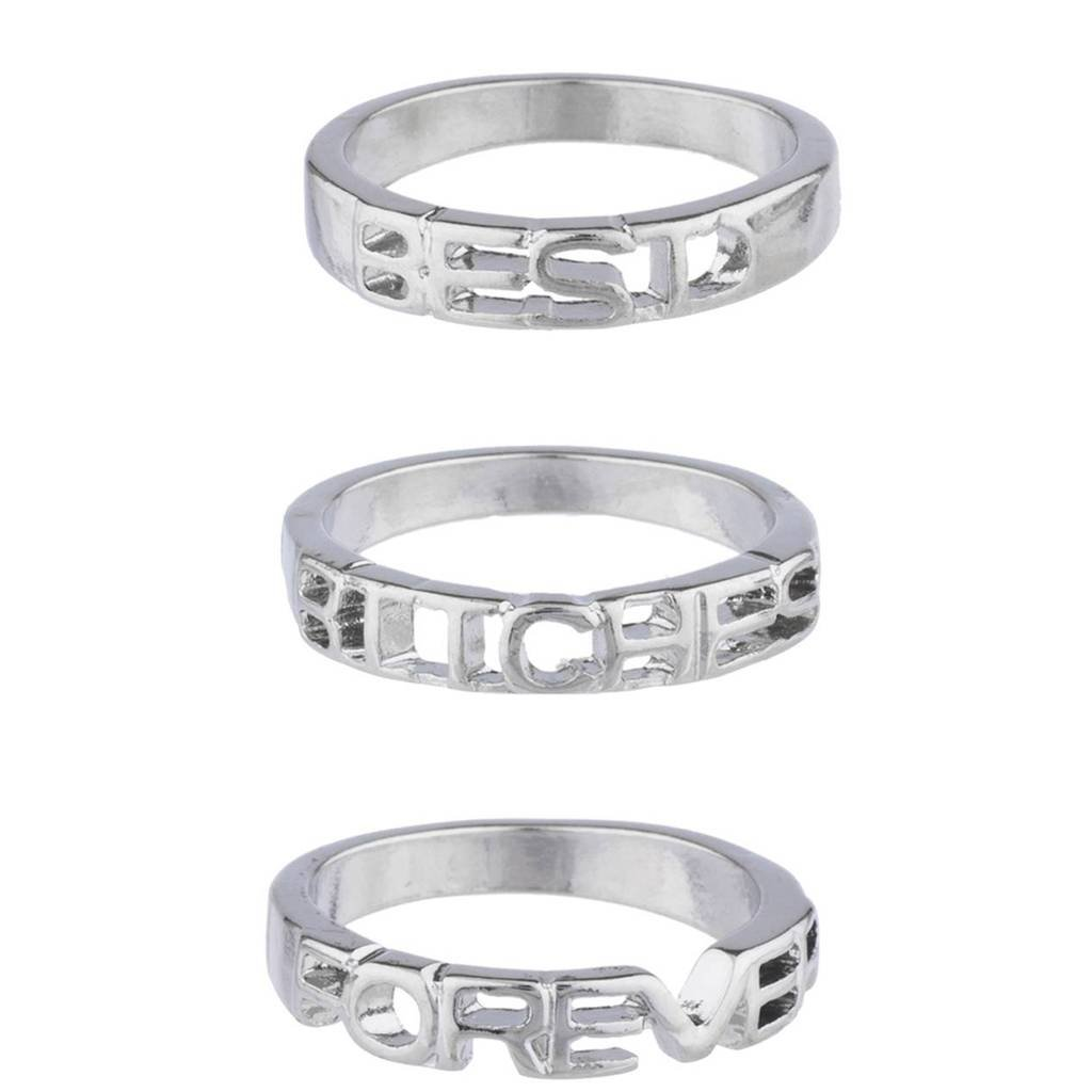 Lux Accessories Silver Tone Best Bitches Forever BFF Best Friends Ring Set 3PC R272053-1D-R321