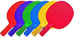Coast Athletic Unbreakable Table Tennis Paddles, Set Of 6, One Each Blue, Green, Red, Yellow, Purple, & Orange
