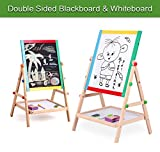Wooden Drawing Board-Double Sided Adjustable Kids Drawing Easel Board for Toddlers Children Learning