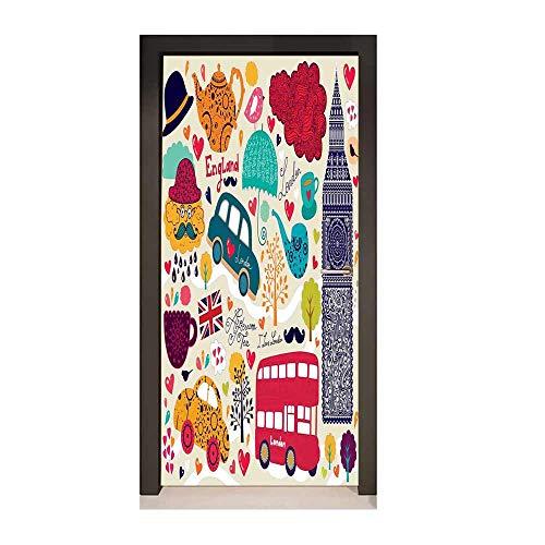 Homesonne London Art Door Decals Colorful Local Symbols Painting Red Bus Big Ben Tea Pot Cup Umbrella and Retro Cab Door Creative Decoration Multicolor,W23xH70]()