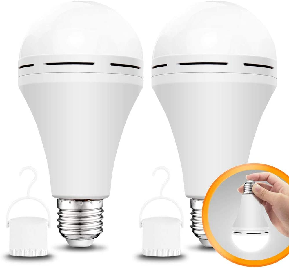 2 Pack Rechargeable Emergency LED Bulb 1200mAh 15W 80W Equivalent 6000K Battery Operated Light Bulb E27 with Hook for Power Outage Camping Tent Hurricane Emergency Lights for Home Power Failure