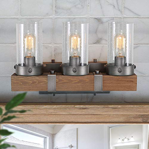 LOG BARN Bathroom Vanity Light, Farmhouse Lighting Fixture 3 Lights in Wood -