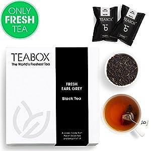 Teabox Earl Grey Black Tea, 16 Teabags | 100% Natural Fresh Black Tea with Bergamot Oil | Premium Black Tea with Brisk Citrus Flavors | Sealed-at Source Freshness from India