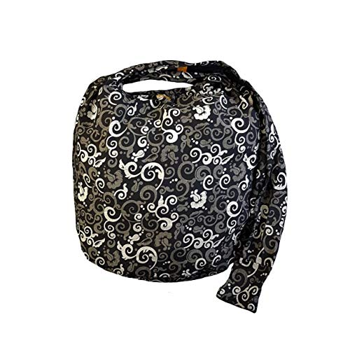 BTP! Absolute Black Floral Sling Bag Crossbody Shoulder Purse Hippie Hobo Thai Cotton Gypsy Bohemian (Floral Vine MO1)