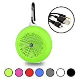 Green Portable Waterproof Bluetooth Speaker with Hanging Hook - Wireless, Hi-Fi Speakers, 5W Driver - USB and Memory Card Input - by Gee Gadgets HD Sound and Bass
