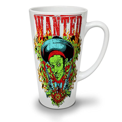 Wanted Zombie Gangster Crime Gun White Ceramic Latte Mug 17 oz | Wellcoda