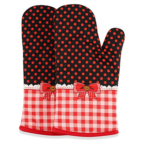 (Oven mitts with Non-Slip Silicone Dot Printed, Heat Resistant Up To 570 Fahrenheit, Kitchen Oven Glove Suitable For Baking, Grilling, Cooking, Barbecue, 1 Pair,Red, By Quickdragon )
