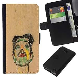 Stuss Case / Funda Carcasa PU de Cuero - Artista Pintura Sketch Retrato de Brown - LG OPTIMUS L90