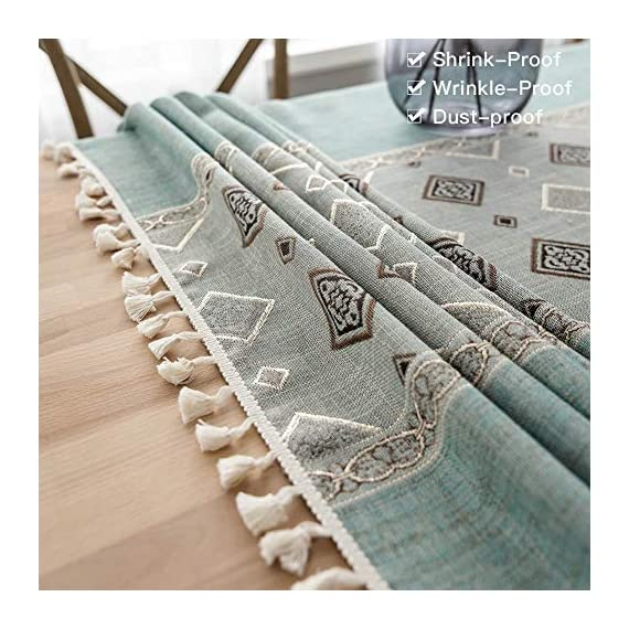 Deep Dream Tablecloth, Embroidered Table Cloth Cotton Linen Wrinkle Free Anti-Fading Tablecloths Washable Dust-Proof Table Cover for Kitchen Dinning Party, 55 x 55 Inch - Blue - 【NON-FADING】: Deep Dream cotton linen tablecloth is dyed with high-quality dyes, which has good dye fixation and is not easy to fade 【ANTI-WRINKLE & ANTI-SHRINK】: This table cloth is made of high quality eco-friendly heavy cotton linen, making it soft and smooth, with exquisite tassels to make your table more beautiful 【EASY TO CARE】: Our table clothes can be hand-washed or gently machine-washed, hand wash best. Tumble dry on low heat or lay flat to dry, very easy to clean, soft and comfortable, no pilling - tablecloths, kitchen-dining-room-table-linens, kitchen-dining-room - 51jR9zJK2vL. SS570  -