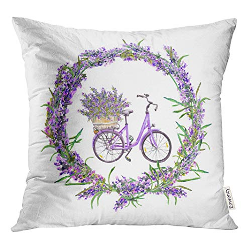 Emvency 18x18 Inch Throw Pillow Covers Decorative Case Color Bicycle with Lavender Flowers in Round Border Floral Watercolor Water Cover Square Pillowcase Cushion Cases Both Sides Print