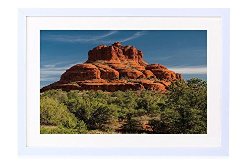 (Bell Rock In Sedona - Art Print White Wood Framed Wall Art Picture 20x14 inches Framed)