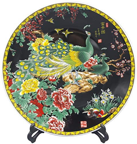 Oriental Furniture Warehouse Chinese Porcelain Plate Black with Peacock and Flowers