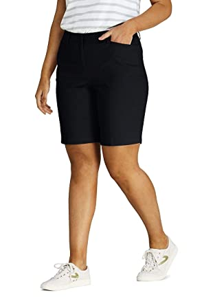 "7b0dc2f1bf Lands' End Women's Plus Size Mid Rise 10"" Chino Bermuda Shorts, ..."