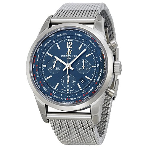 Breitling Men's BTAB0510U9-C879SS Transocean Chronograph Unitime Analog Display Swiss Automatic Silver Watch