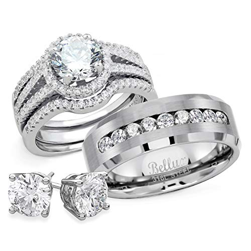 Bellux Style His and Hers Wedding Ring Set Womens Sterling Silver Mens Stainless Steel Rings + Free Stud Earrings (Women's Size 07 Men's Size 10) (His And Hers Wedding Ring Sets Sterling Silver)