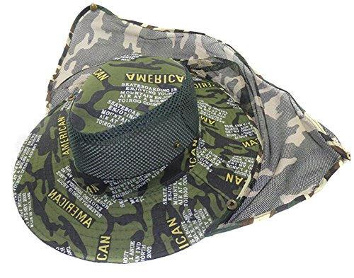 Eforstore Mesh Military Camouflage Bucket Hat with Anti-Mosquito Bees Fly Mask Neck Flap Hat Sun Protection Shield Boonie Hats for Fishing Hiking Hunting Boating Safari Farming Garden Work Outdoor, Camo Letter Green #9]()