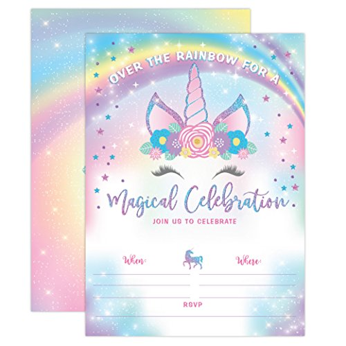 (YME Unicorn Birthday Invitation, Rainbow Unicorn Party Invite 20 Fill in Style with Envelopes)