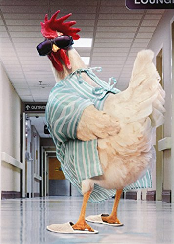 (Rooster Hospital Gown Avanti Funny/Humorous Get Well Card)
