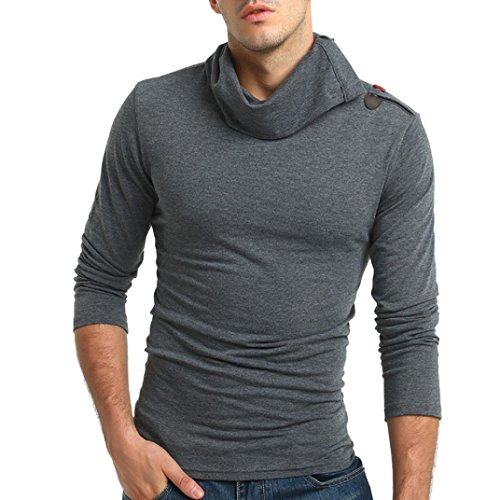 Drape Choker - Men's Autumn Pure Color Blouse Men Long Sleeve Pullover Choker Top Sweatshirts Blouse by SanCanSn(Gray,M=(US:S))