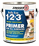 zinser sealer - Rust-Oleum 2001 White Zinsser Bulls Eye 1-2-3 Water Based Primer, 1 gal Can (Pack of 4)