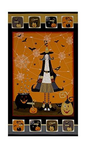 StudioE Fabrics DT-K Signature Witchy 24in Panel Orange/Black Fabric,
