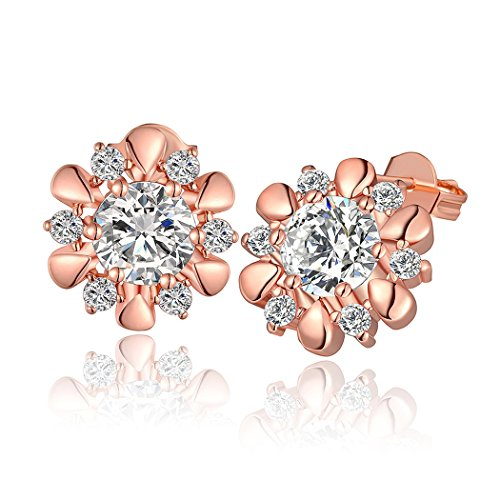 Price comparison product image Duo La Elegance Flower Cubic Zirconia 18K Rose Gold Plated Charm Lady Stud Earrings