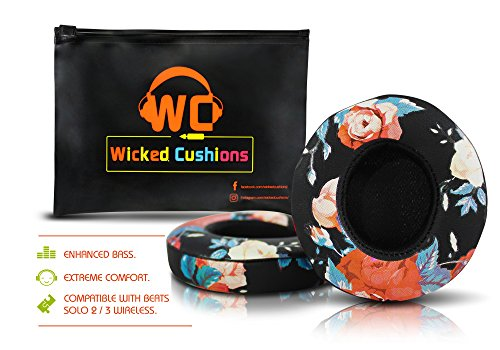 Wicked Cushions Beats Solo 2/3 Ear Pad Replacement - Compatible with SOLO 2 / 3 Wireless On Ear Headphones by Dr. Dre ONLY ( DOES NOT FIT SOLO 2.0 WIRED ) | Black Floral