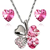 Lucky Love Heart Clover Swarovski Elements Crystal Rhodium Plated Necklace Earrings Set - Pink