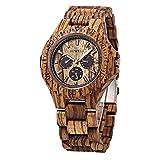 Bewell W116B Wooden Watch Men Quartz Analog with Date Luminous Pointers (Zebra Wood)