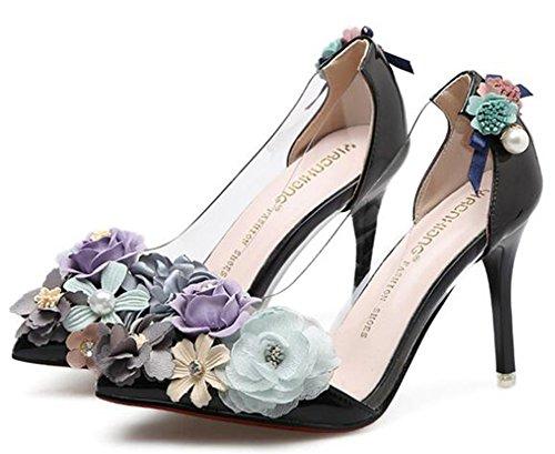 Idifu Womens Sweet Flowers Hoge Naaldhakken Slip Op Pumps Spitse Neus Zwart