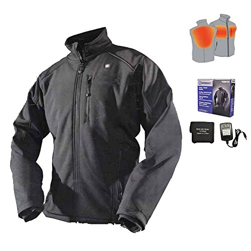 Cordless Heated Jacket Carbon Fiber Electric Heating Clothing Male Jacket Thermal Clothing with 1PCS 4400mah Battery (XXL)