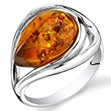 Baltic Amber Tear Drop Ring Sterling Silver Cognac Color Size 9