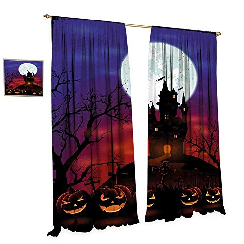 cobeDecor Halloween Patterned Drape for Glass Door Gothic Haunted House Castle Hill Valley Night Sky October Festival Theme Print Waterproof Window Curtain W96 x L96 Multicolor
