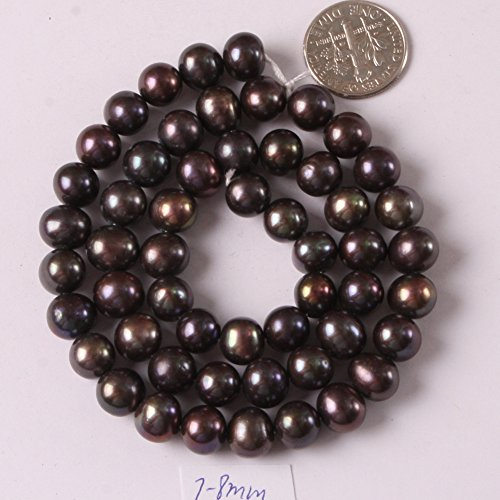 JOE FOREMAN Freshwater Cultured Pearl Beads for Jewelry Making Gemstone Semi Precious 7-8mm Round Black 15