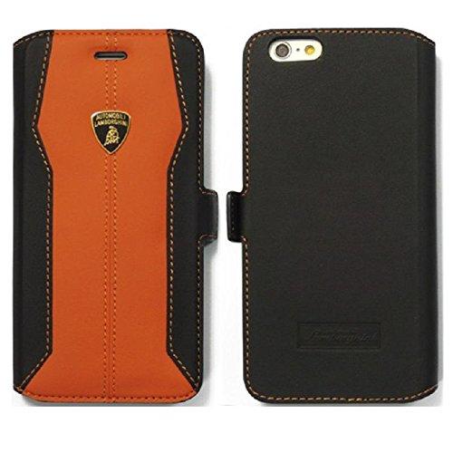 Automobili Lamborghini Huracan D1 Genuine Leather Ultra Slim Flip Case For iPhone 6 Plus/6S Plus (Orange)