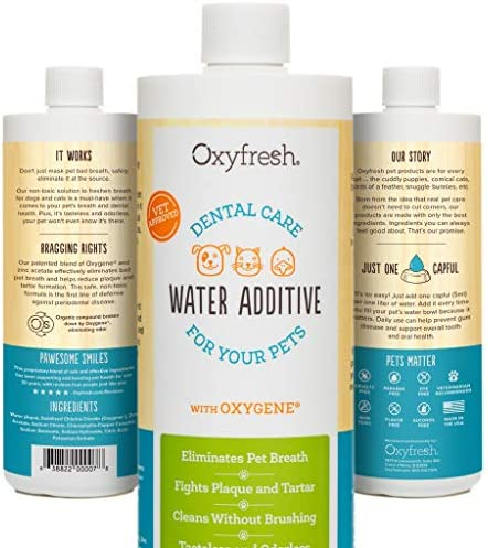 Oxyfresh Premium Pet Dental Care Solution Pet Water Additive: Best Way to Eliminate Bad Dog Breath and Cat Breath – Fights Tartar and Plaque – So Easy, Just Add to Water.