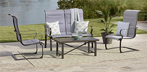 COSCO 88401GLGE Outdoor Living SMARTCONNECT Padded Motion Patio Chairs, Dark Gray/Light Gray, 2-Pack