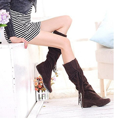 Maybest Womens Fashion Casual Tassel Moccasin High Boots Low Heel Brown DZDb8
