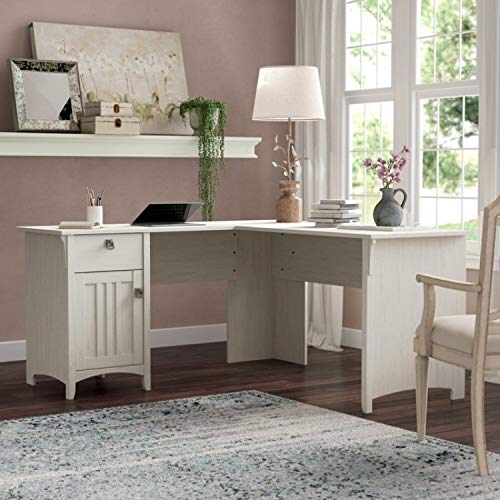 Antique White L Shaped Corner Desk with Storage Corner Computer Workstation PC Laptop Table for Home and Office Study Desk L Shaped with Drawers