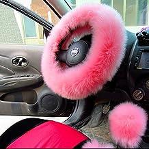 AUDEW Charm Pink Warm Long Wool Plush Steering Wheel Cover for Car Handbrake Accessory