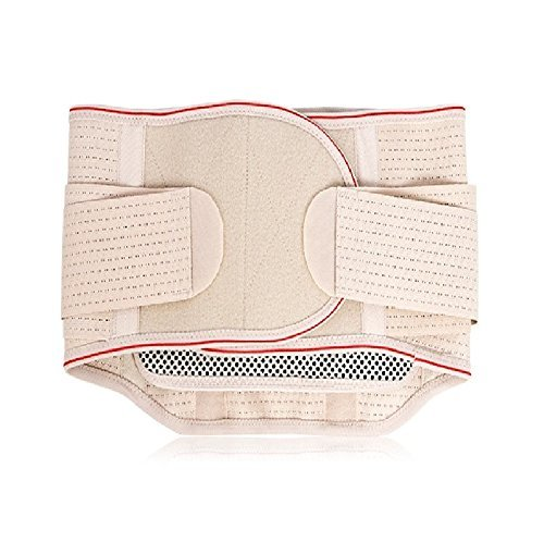 Hysenm Men/Women Premium Warm Adjustable Lumbar Brace Support Lower Back Belt with Removable Tourmaline Heating Pad for Back Pain Relief, Beige L(93cm/37): Belly 30