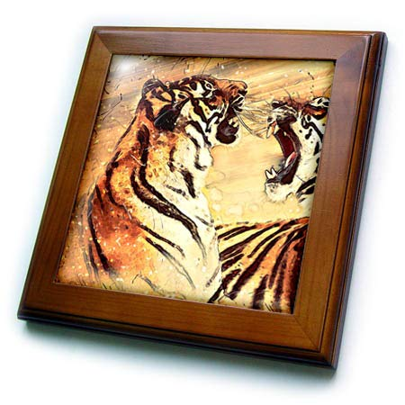 (3dRose Sven Herkenrath Animal - Illustration of Two Fighting Tigers with Colorful Background - 8x8 Framed Tile (ft_294948_1))