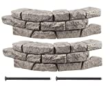 flower bed edging RTS Home Accents Rock Lock Interlocking Border System Curved Section With Spikes, 30-Inch Long, 2-Pack